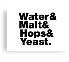 Beer = Water & Malt & Hops & Yeast. Canvas Print
