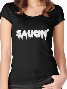 Saucin' white text Women's Fitted Scoop T-Shirt