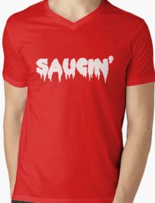 Saucin' white text Mens V-Neck T-Shirt