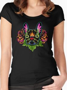 Day of the Dead French Bulldog in Black Sugar Skull Dog Women's Fitted Scoop T-Shirt