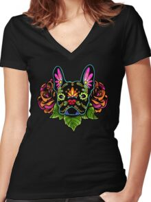 Day of the Dead French Bulldog in Black Sugar Skull Dog Women's Fitted V-Neck T-Shirt