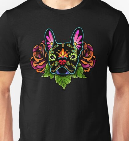 Day of the Dead French Bulldog in Black Sugar Skull Dog Unisex T-Shirt
