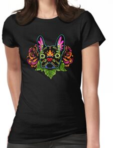 Day of the Dead French Bulldog in Black Sugar Skull Dog Womens Fitted T-Shirt