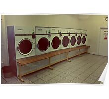 Seven Washing Machines and a Bench Poster