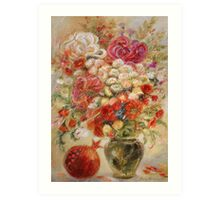 Flowers & pomegranate Art Print