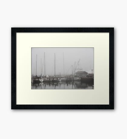 Misty Harbor Framed Print