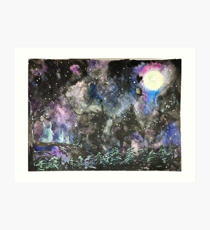 Totoro Galaxy Illustration Art Print