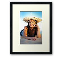 beauty young woman on the beach Framed Print