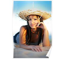 beauty young woman on the beach Poster