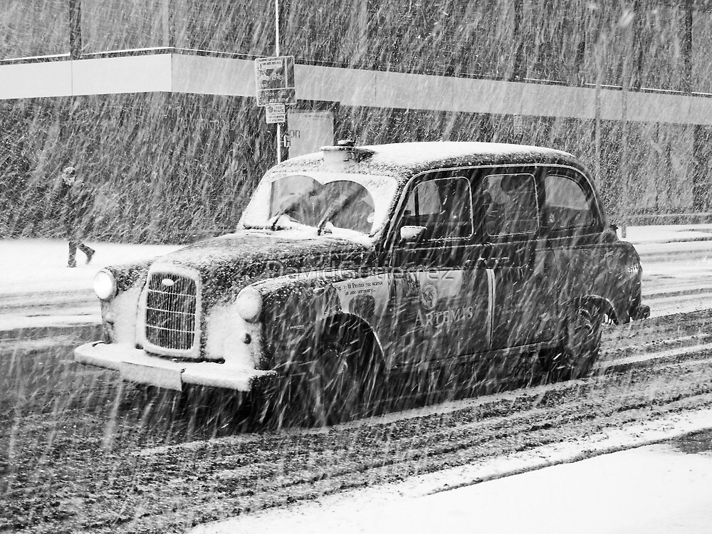 London Taxi in the Snow by DavidGutierrez