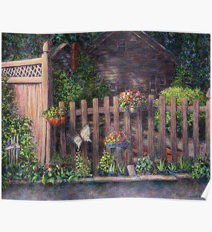 Flowerpots Hanging on a Fence Poster