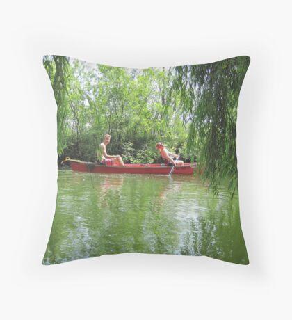 Canoeing on the Oconomowoc River Throw Pillow