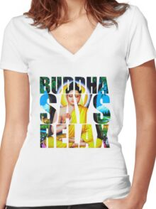 Buddha Says Relax Women's Fitted V-Neck T-Shirt