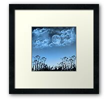 Cloudy Blue Moon Framed Print