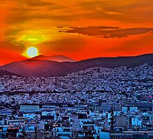 Greece. Athens. City at the sunset in psychedelic colors. by vadim19