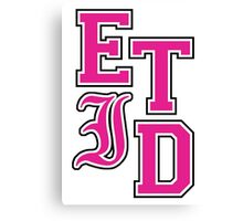 Every Time I Die - Varsity Letters (Pink in Black) Canvas Print