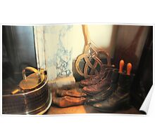 Boots by the fireplace.detail, Wimpole Hall uk.  Poster
