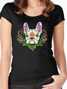 Day of the Dead French Bulldog in White Sugar Skull Dog Women's Fitted Scoop T-Shirt