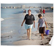 Strolling Along Sunset Beach, Florida Poster