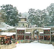 Snow at Suzhou Street, Summer Palace, Beijing, China by imagekinesis