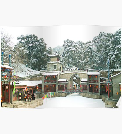 Snow at Suzhou Street, Summer Palace, Beijing, China Poster
