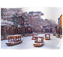 Snow at Suzhou Street, Summer Palace, Beijing, China Poster