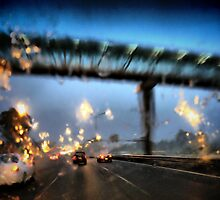Nightfall, Northern Motorway, Auckland, New Zealand. by Lynne Haselden