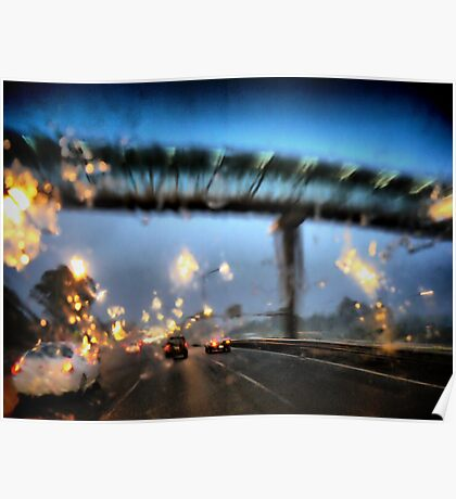 Nightfall, Northern Motorway, Auckland, New Zealand. Poster