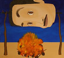 Self Portrait Roasting Over an Open Fire by Rudy Pavlina