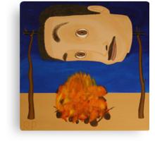 Self Portrait Roasting Over an Open Fire Canvas Print