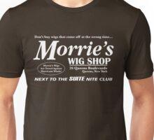 Morrie's Wig Shop (White Print) Unisex T-Shirt