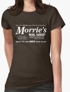 Morrie's Wig Shop (White Print) Womens Fitted T-Shirt