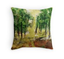 Revised Forest ,now in the light of day, watercolor Throw Pillow