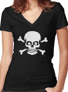 Jolly Roger Pirate Skull and Crossbones Women's Fitted V-Neck T-Shirt