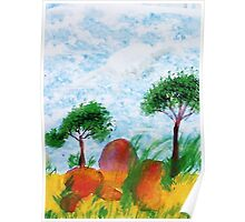 Trees and Rocks, Africa Series, watercolor Poster