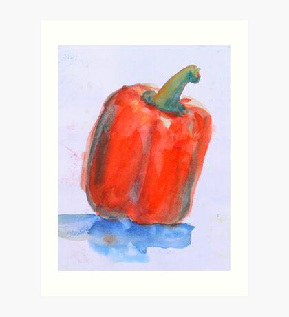 One red Capsicum, bake it? Art Print