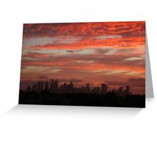 City against red sky Greeting Card