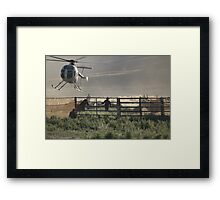 Wild Horse Roundup At Triple B Framed Print