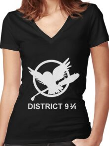 District 9 3/4 Women's Fitted V-Neck T-Shirt