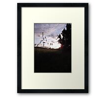 Sunset over cross-shaped grass Framed Print