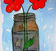 Watercolor Flowers in Mason Jar by triciaanne