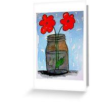 Watercolor Flowers in Mason Jar Greeting Card