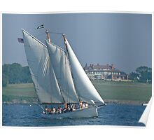 Schooner Adirondack II passes Hammersmith Farm - Newport - Rhode Island Poster