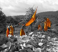 Cambodian monks at work by Sianwestern