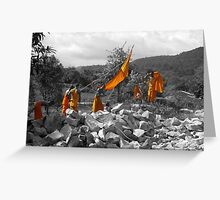 Cambodian monks at work Greeting Card