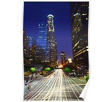 Downtown Los Angeles at Night Blue Sky Poster