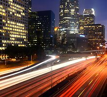 Downtown L.A. 110 Freeway Night by Daisy Yeung