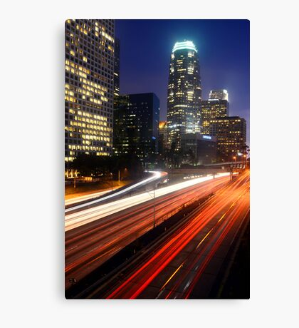 Downtown L.A. 110 Freeway Night Canvas Print
