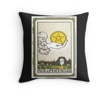 Ace Of Pentacles Tarot Card Throw Pillow