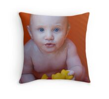 Baby in a Tub Throw Pillow